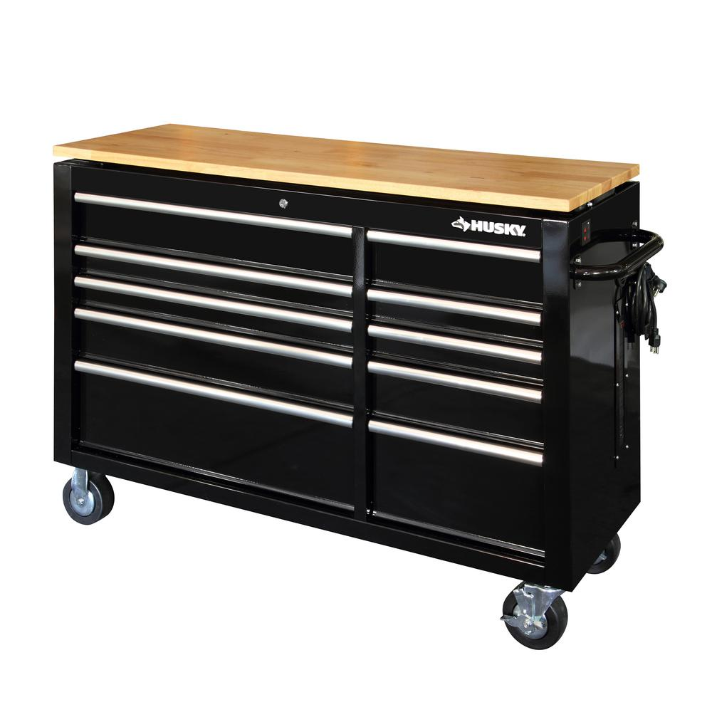 10 Drawer Mobile Workbench With Power Adjustable Height Top In