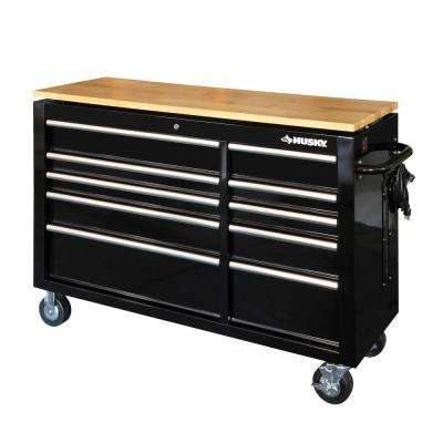 52 in. 10-Drawer Mobile Workbench with Power Adjustable-Height Top in Black