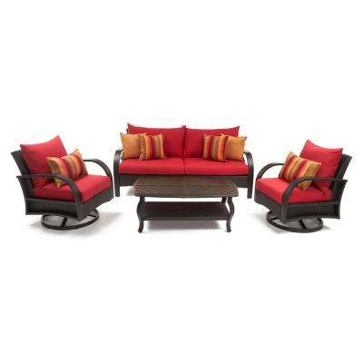 Barcelo 4-Piece Motion Wicker Patio Deep Seating Conversation Set with Sunbrella Sunset Red Cushions