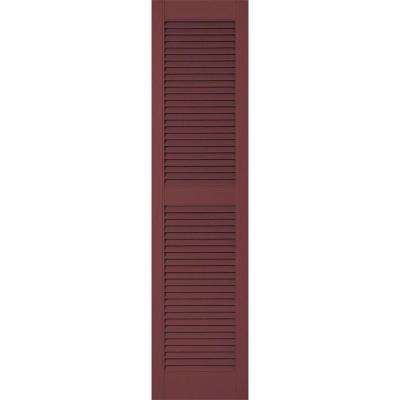 12 in. x 41 in. Lifetime Vinyl Custom Straight Top Center Mullion Open Louvered Shutters Pair Wineberry