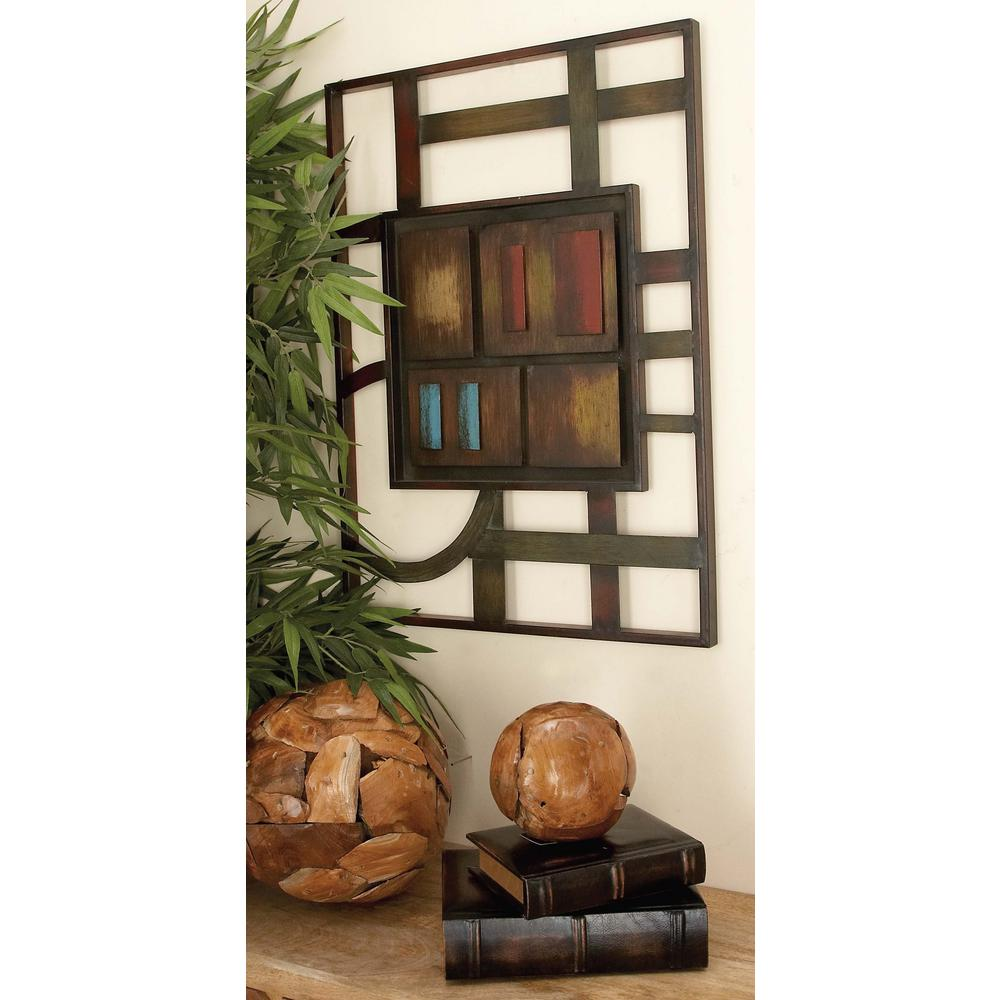 20 in. x 27 in. Contemporary Multicolored Abstract Geometric Iron Wall