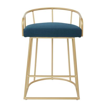 Luna 26 in. Azure Counter Stool with Gold Base