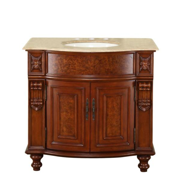 36 in. W x 22 in. D Vanity in Natural Cherry with Stone Vanity Top in Travertine with Ivory Basin