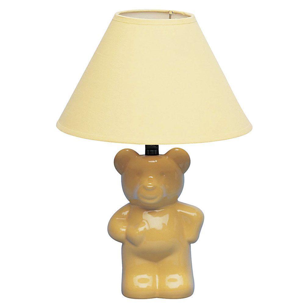 ORE International 13 in. Ceramic Teddy Bear Yellow Lamp