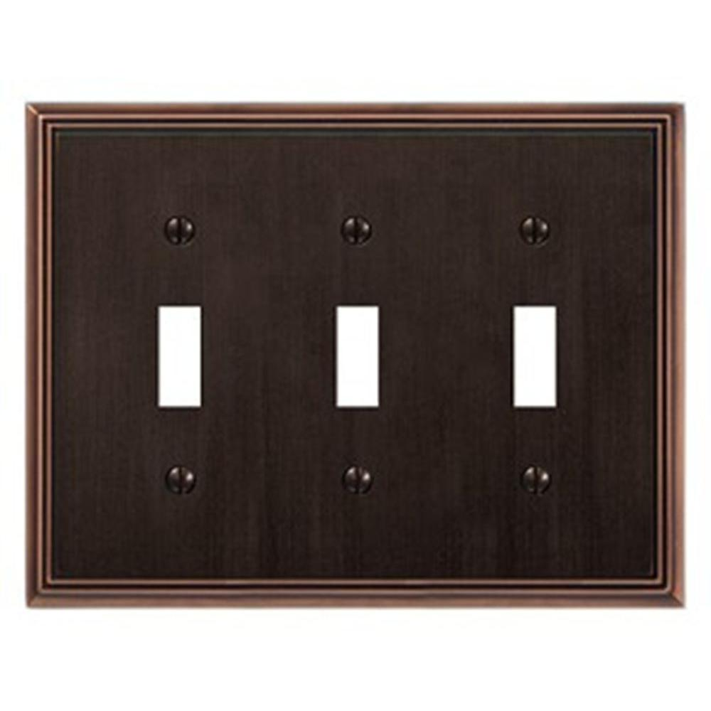 Creative Accents Metro Line 3 Toggle Wall Plate - Antique Bronze-DISCONTINUED
