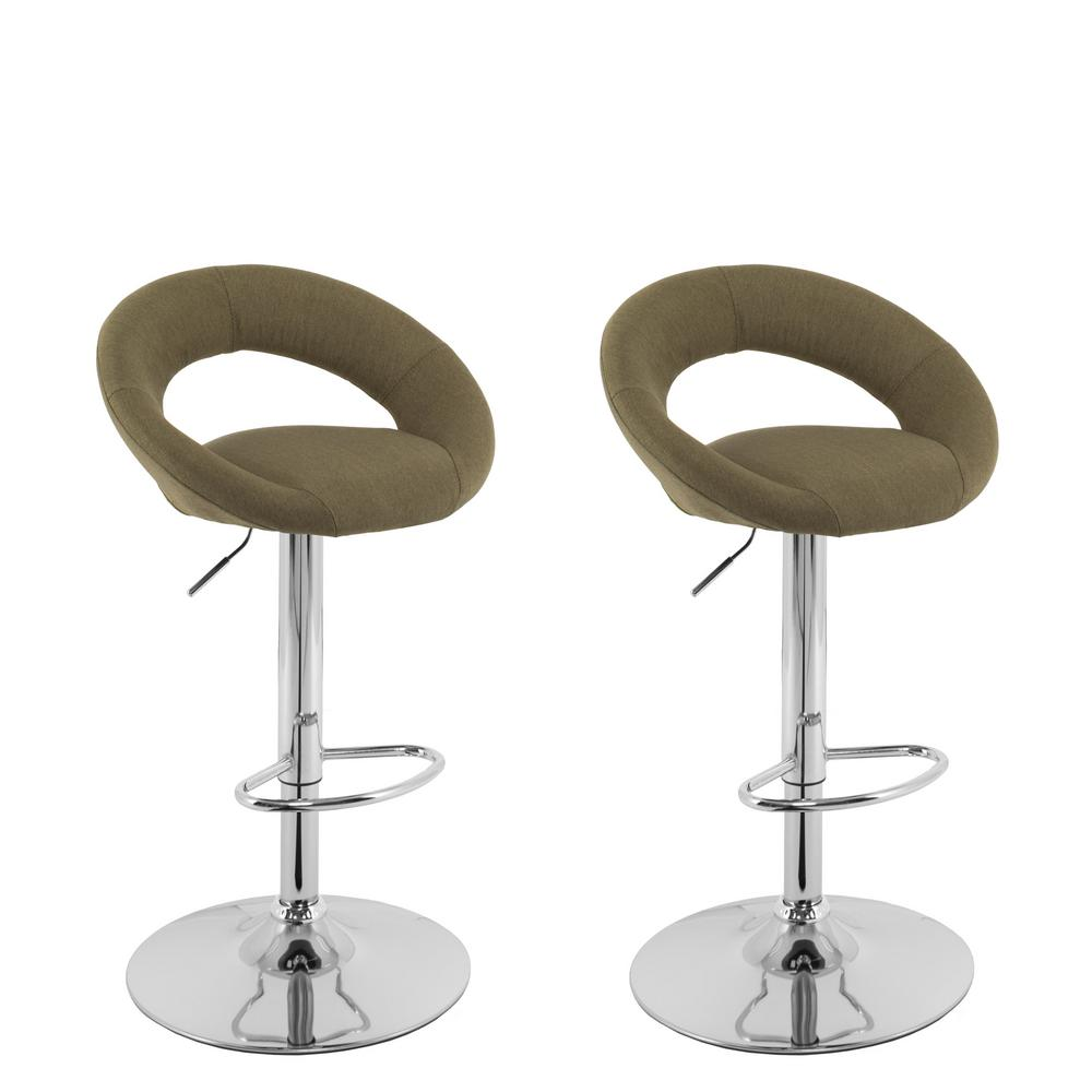 Corliving Adjule Height Olive Green Round Open Back Fabric Bar Stool Set Of 2