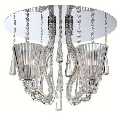 Corato Collection 4-Light Chrome and Clear Flushmount
