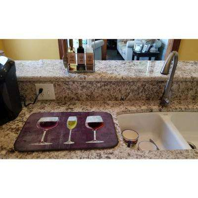 14 in. x 21 in. Multicolor Three Glasses of Wine Purple Dish Drying Mat