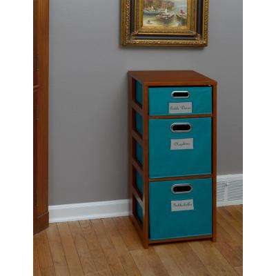 Flip Flop Cherry and Teal 3-Shelf Folding Bookcase and Storage Tote Set