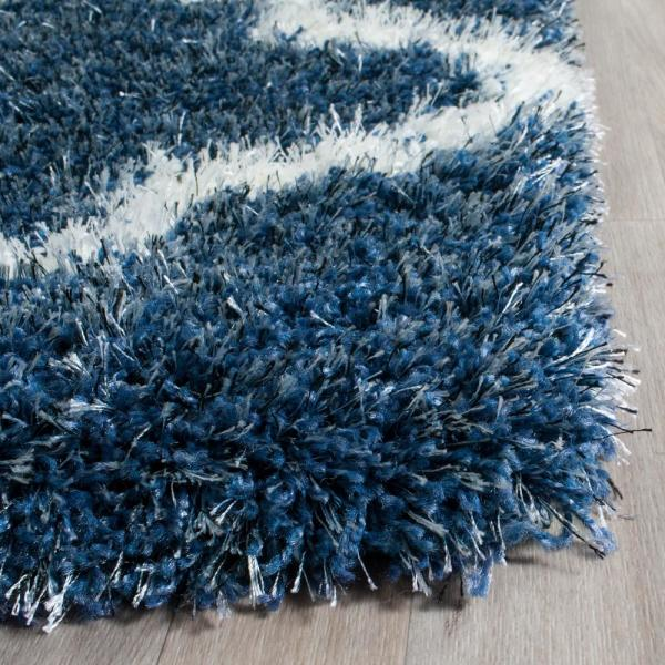Safavieh Montreal Shag Blue Ivory 7 Ft X 7 Ft Square Area Rug Sgm832a 7sq The Home Depot
