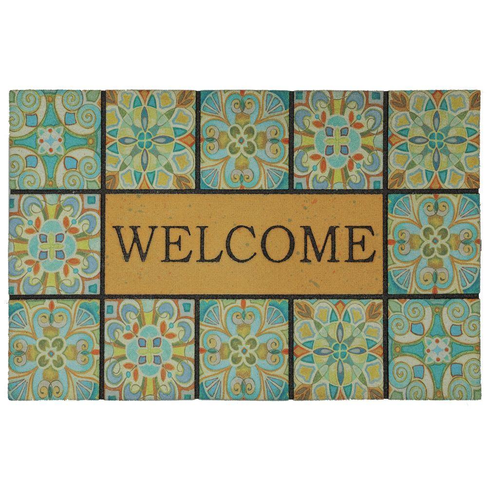 TrafficMASTER Welcome Tiles 18 in. x 30 in. Door Mat, Multi