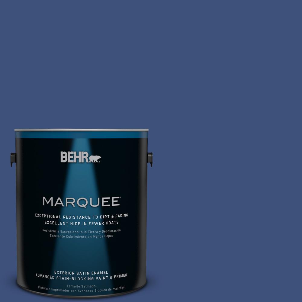 BEHR MARQUEE 1-gal. #600D-7 Daring Indigo Satin Enamel Exterior Paint