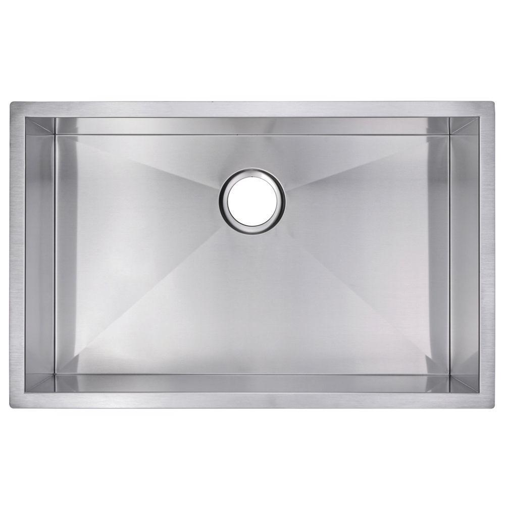 Undermount Zero Radius Stainless Steel 30.in 0-Hole Single Bowl Kitchen Sink in Satin Finish