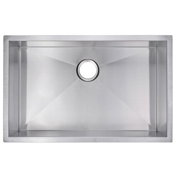 Undermount Zero Radius Stainless Steel 30.in 0-Hole Single Bowl Kitchen Sink in Satin Finish