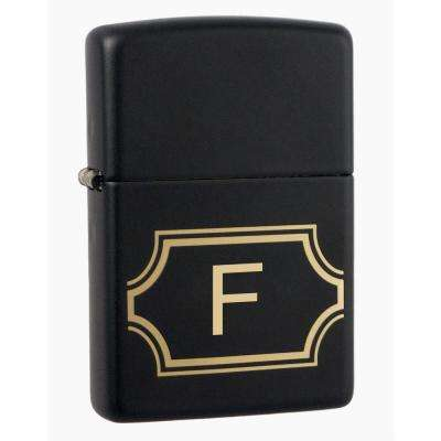 "Black Matte Lighter with Initial ""F"""