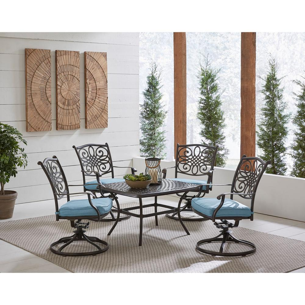 Envelor Hanover Traditions 5-Piece Aluminum Patio Conversation Set with Blue Cushions