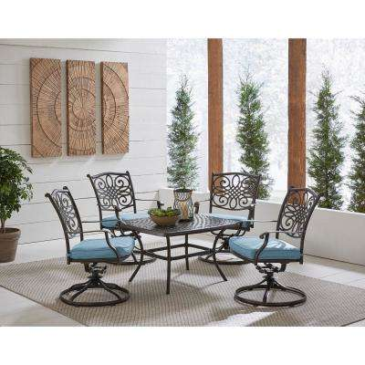 Hanover Traditions 5-Piece Aluminum Patio Conversation Set with Blue Cushions