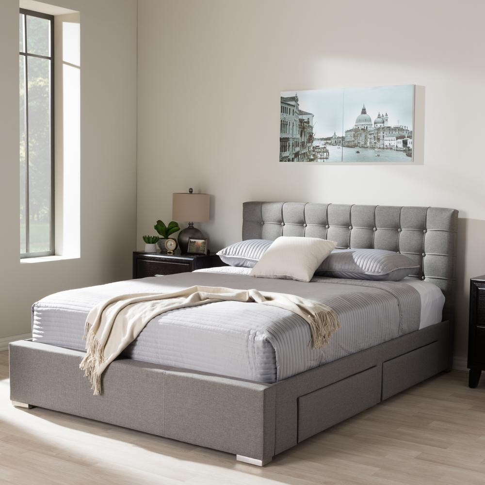 Baxton Studio Rene Gray Queen Upholstered Bed 28862 7060 Hd The