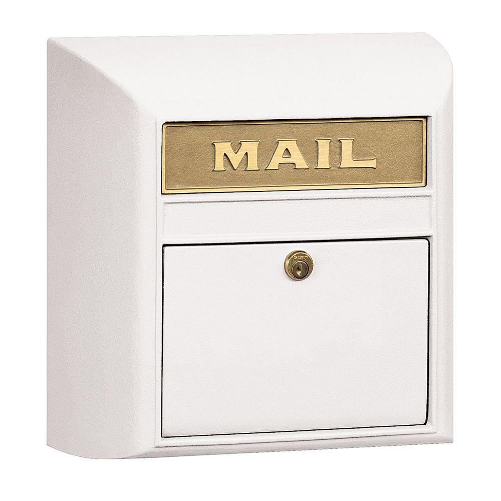 4100 Series 14.5 in. W x 14.5 in. H x 6 in. D White Plain Door Modern Mailbox