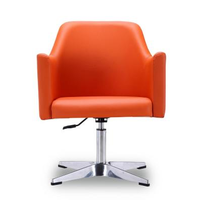 Orange Leatherette Pelo Height Swivel Accent Chair