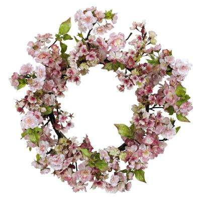 24.0 in. H Pink Cherry Blossom Wreath
