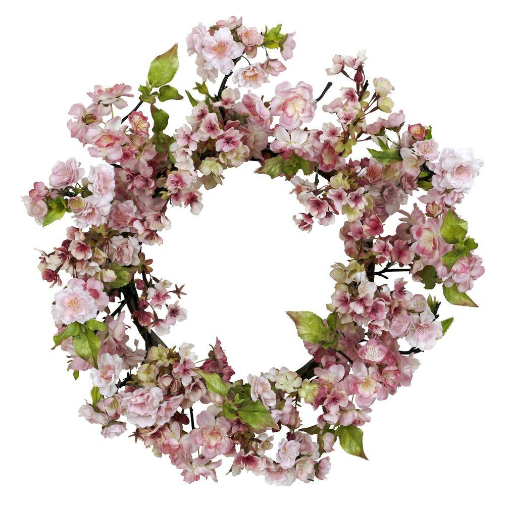 Nearly Natural 24.0 in. H Pink Cherry Blossom Wreath