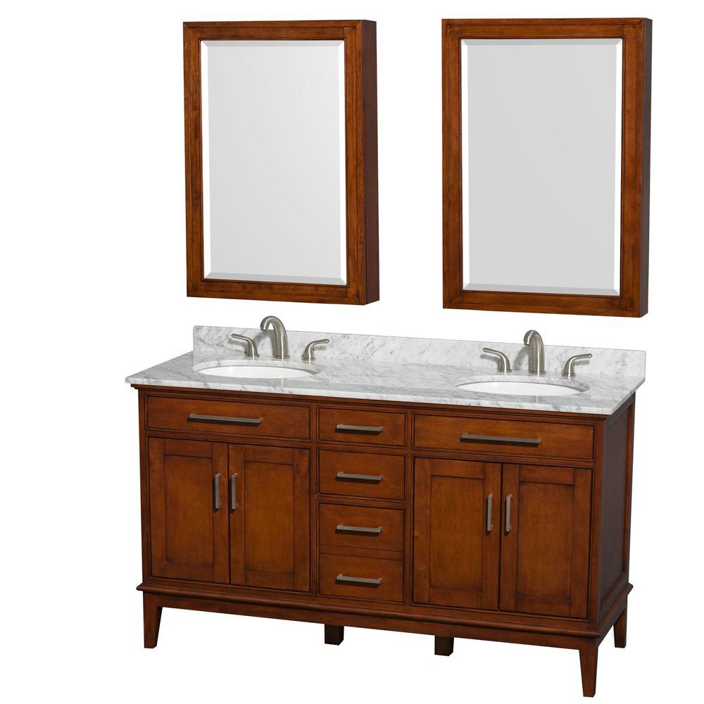 Wyndham Collection Hatton 60 In. Double Vanity In Light Chestnut With  Marble Vanity Top In