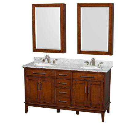 Hatton 60 in. Double Vanity in Light Chestnut with Marble Vanity Top in White Carrara, Round Sinks and Medicine Cabinets
