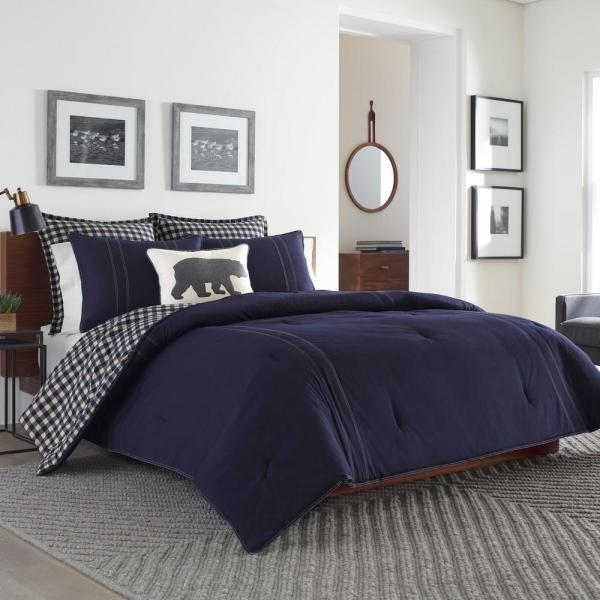 Kingston 3-Piece Navy Plaid Reversible Cotton Full/Queen Comforter Set