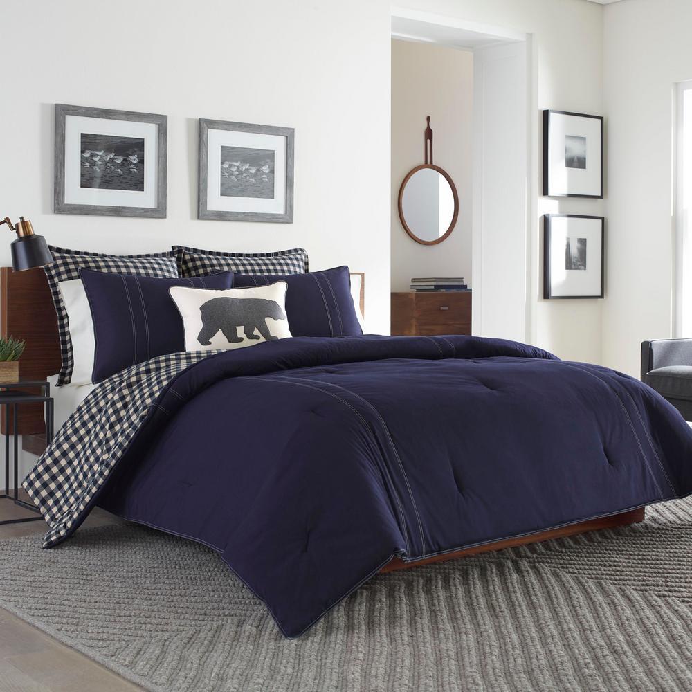 Kingston 3-Piece Navy Plaid Reversible Cotton King Comforter Set