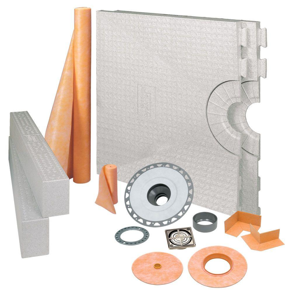 Schluter Kerdi-Shower 32 in. x 60 in. Shower Kit in PVC with Brushed Nickel Anodized Aluminum Drain Grate