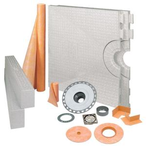 Kerdi-Shower 32 in. x 60 in. Shower Kit in PVC with Brushed Nickel Anodized Aluminum Drain Grate