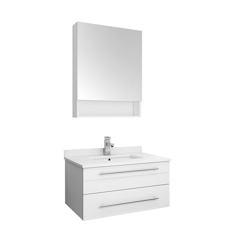 Fresca Lucera 30 In W Wall Hung Vanity White With Quartz Stone Top Basin And Medicine Cabinet