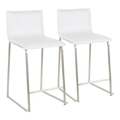 Mara 26 in. White Faux Leather and Stainless Steel Counter Stool (Set of 2)