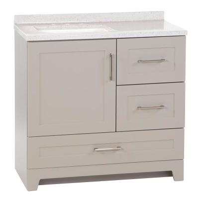 Dorston 36 in. W Bath Vanity in Gray with Solid Surface Vanity Top in Polar Gray with White Sink and Mirror