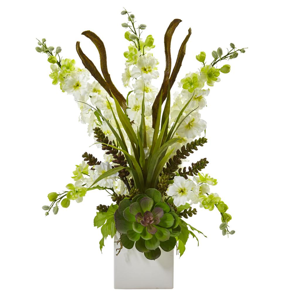23 in. Delphinium and Succulent Arrangement in White