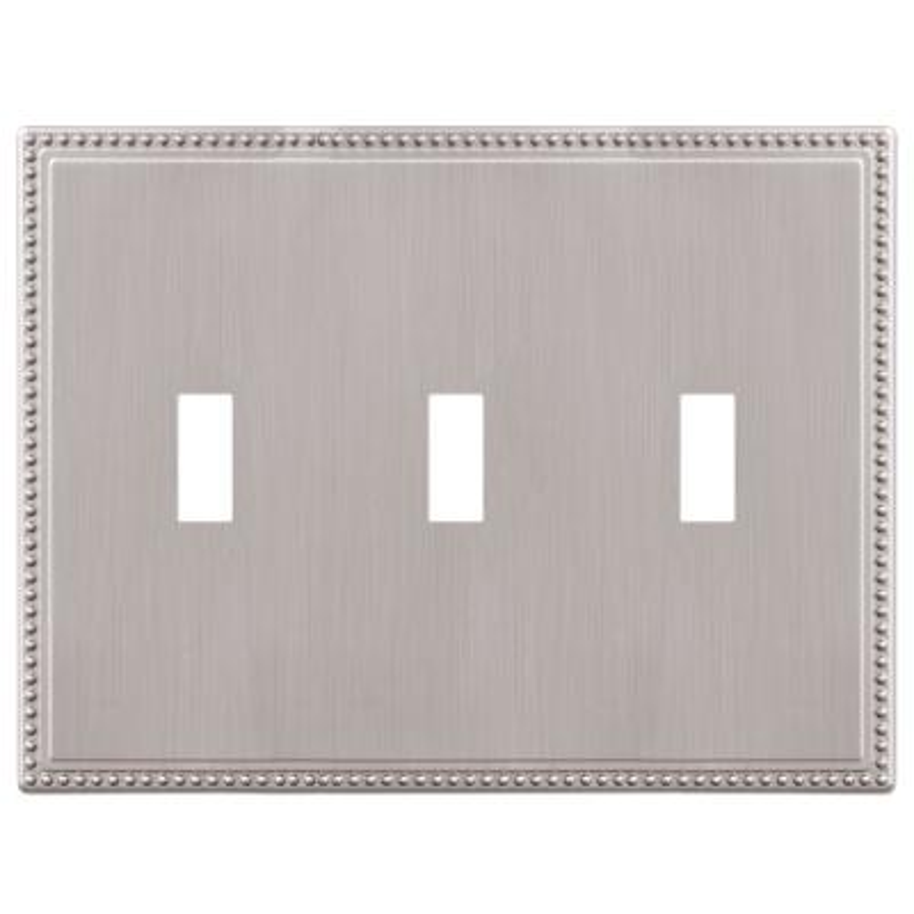 Perlina 3 Gang Toggle Metal Wall Plate - Brushed Nickel