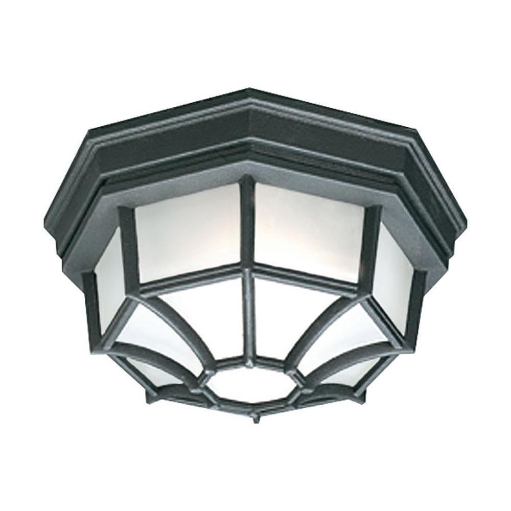 Outdoor Essentials 1-Light Outdoor Flush Mount Black Ceiling Fixture