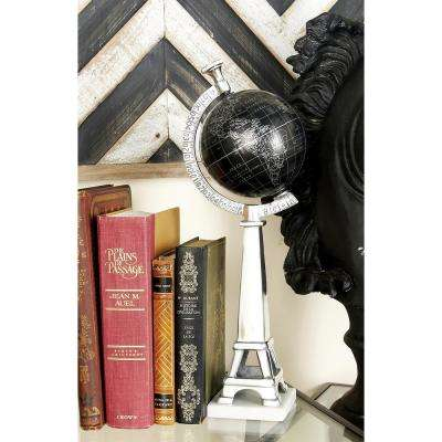 16 in. x 6 in. Nautical Decorative Aluminum and Marble Globe