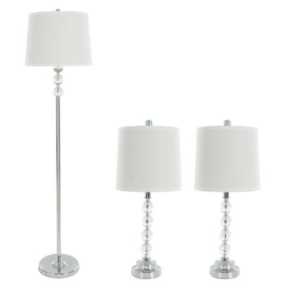 62 in. Faceted Crystal Balls Lamp Set (3-Piece)