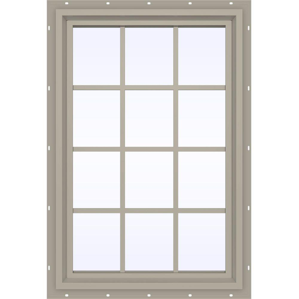 JELD-WEN 35.5 in. x 47.5 in. V-4500 Series Desert Sand Vinyl Fixed Picture Window with Colonial Grids/Grilles