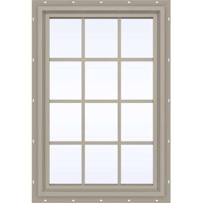 35.5 in. x 47.5 in. V-4500 Series Fixed Picture Vinyl Window with Grids in Tan