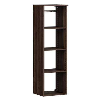 Style+ 14.59 in. D x 16.97 in. W x 56.48 in. H Modern Walnut Wood Closet System Hanging Tower