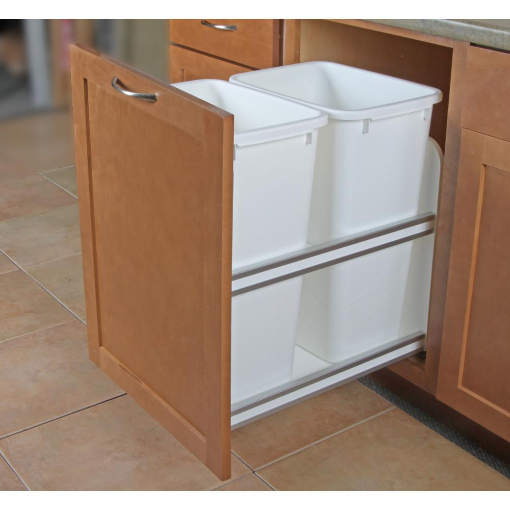 Knape & Vogt 23.25 in. x 15.38 in. x 22.44 in. In Cabinet Pull Out Soft Close Trash Can
