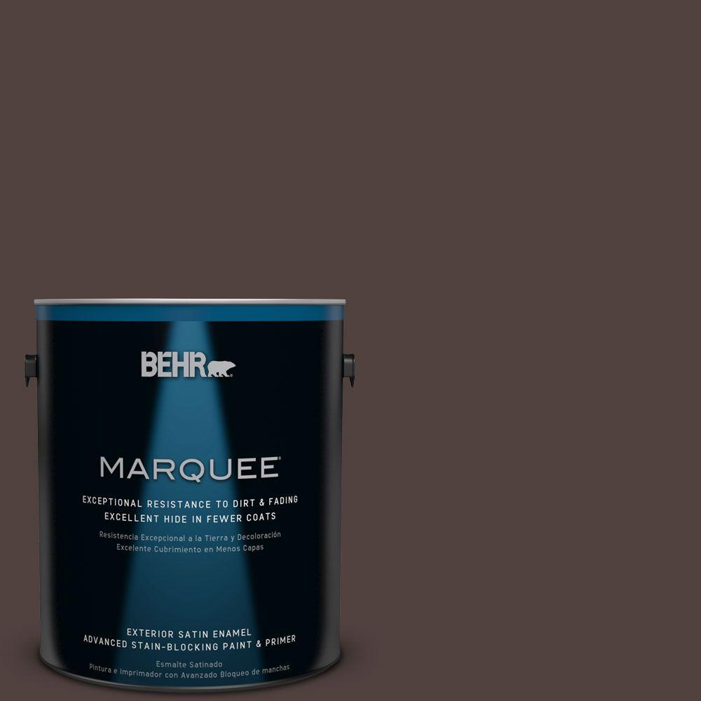 BEHR MARQUEE 1-gal. #ECC-28-3 Charred Hickory Satin Enamel Exterior Paint