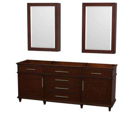 Berkeley 80 in. Double Vanity with Medicine Cabinets in Dark Chestnut