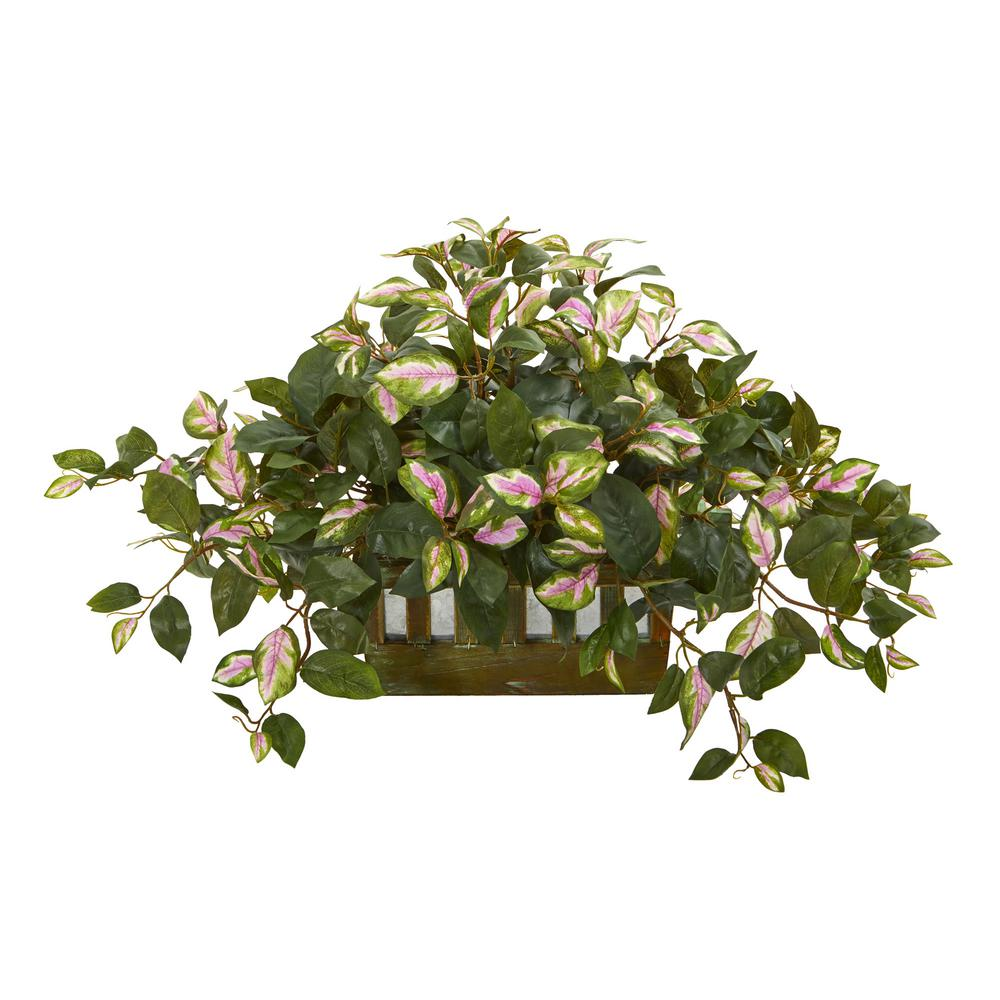 Indoor 16 in. Hoya Artificial Plant in Decorative Planter