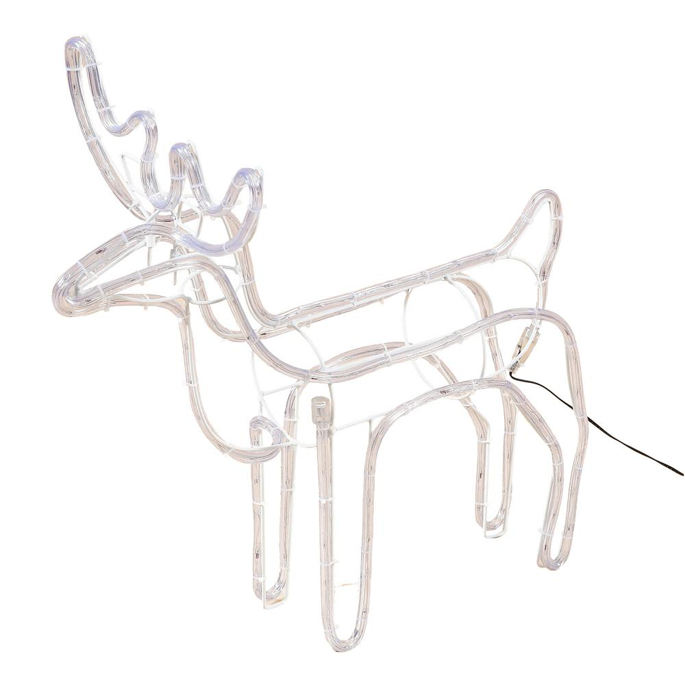 Luxen Home 25 In 1 Light Led White Rope Light Standing Reindeer Indoor Outdoor Christmas Decoration Lighted Display