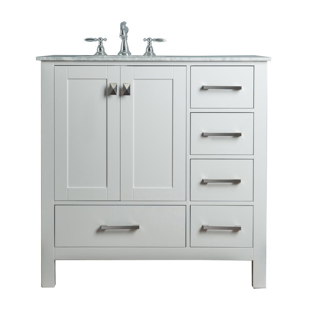 Malibu 36 in. Vanity in Pure White with Marble Vanity Top in Carrara White