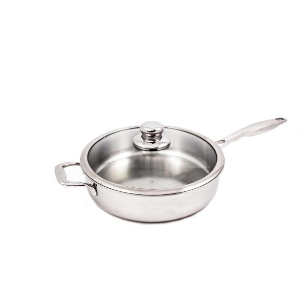 Premium Clad 4.2 qt. Stainless Steel Saute Pan with Glass Lid
